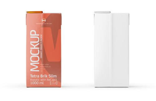 Tetra Brik Mockup Aseptic 1000ml Slim with ReCap3 - Front view