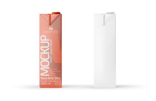 Tetra Pack Brick Mockup Aseptic 1000ml Slim with ReCap3 - Side view