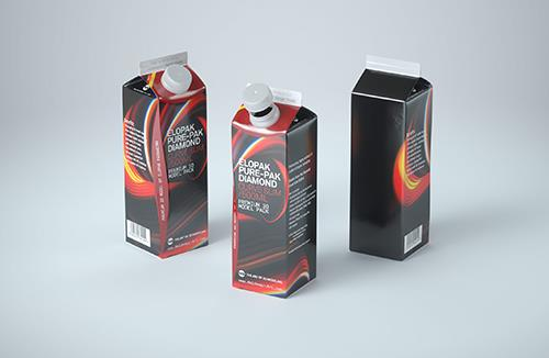 Elopak Pure-Pak Diamond Curve Slim 500ml Premium packaging 3D model