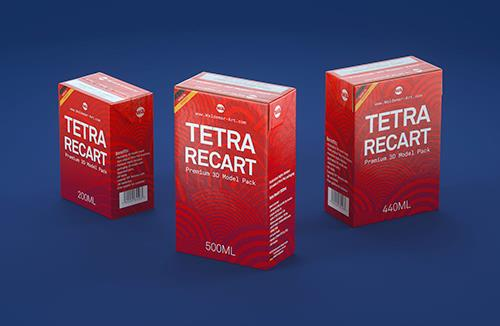 Tetra Pack Recart 200, 440 and 500ml carton packaging 3D model pak