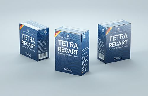 Tetra Recart 340, 390 and 440ml carton packaging 3D model pack