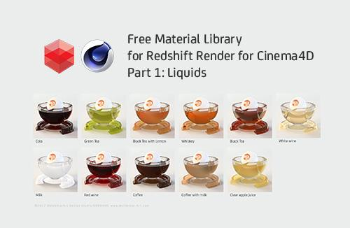 Free Redshift Render for Cinema 4D Material Library - Part 1 - Liquids