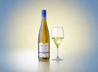 3D model of a wine bottle 750ml for Riesling wine with screw cap and a glass of wine