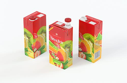 Tetra Pak Brik Slim 1000ml with SlimCap Premium packaging 3D model