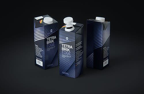 Tetra Pak Brik EDGE 1000ml Premium packaging 3D model with SimplyTwist34 closer