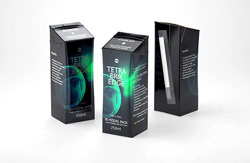 Tetra Pack Brick Edge 250ml with a straw carton packaging 3d model pak