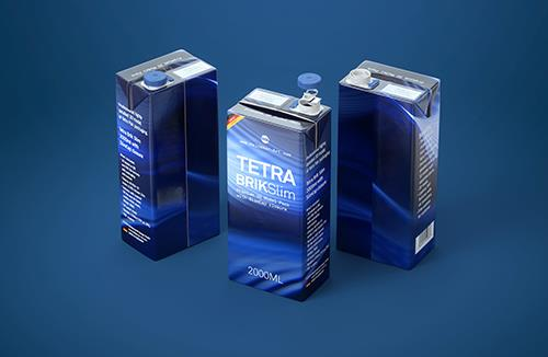 Tetra Pack Brick Slim 2000ml Premium packaging 3D model pak with SlimCap closure