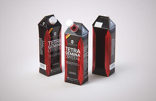 Tetra Pack Gemina Base Crystal 1000ml with HeliCap 27 Premium packaging 3d model pak.