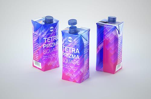 Tetra Pack Prisma Square 750ml Premium 3d model pak with HeliCap closure