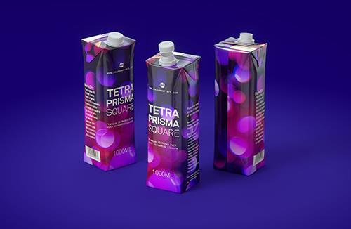 Packaging 3D model of Tetra Pak Prisma Aseptic 1000ml Square with StreamCap