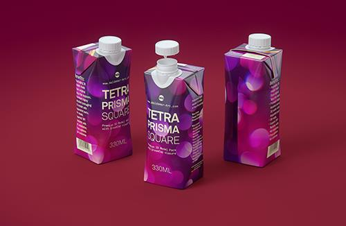 Tetra Pack Prisma Square 330ml 3D model pak with DreamCap 26 opening
