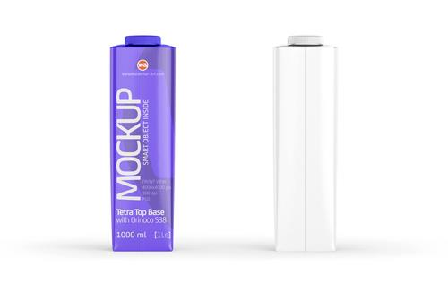 Mockup of Tetra Pack Top 1000ml with Orinoco S38 - Front view