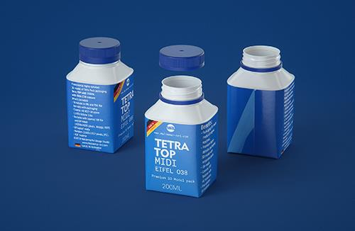 Tetra Top MIDI 200ml 3D model of carton package with Eifel O38 closure