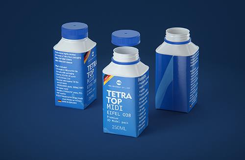 Tetra Top MIDI 250ml 3D model of carton package with Eifel O38 closure