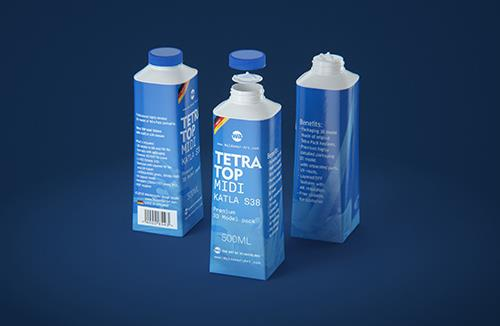 Tetra Top MIDI 500ml 3D model of carton package with KATLA S38 closure