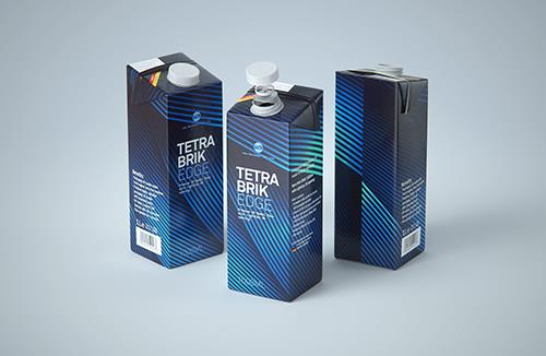 Tetra Pak Brik EDGE Aseptic 1000ml Premium Packaging 3D model with LightCap 30