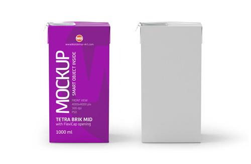 Tetra Pak Brik Mid 1000ml with FlexiCap PSD Mockup Front View