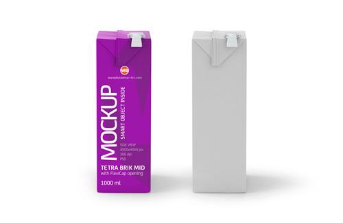 Tetra Pak Brik Mid 1000ml with FlexiCap PSD Mockup Side View