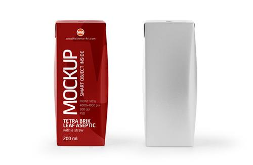 Tetra Pack Brick Slim Leaf 200ml Front View Photoshop Mockup
