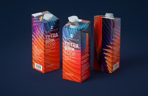 Premium packaging 3D model pak of Tetra Pack Brick EDGE 1000ml with WingCap 30 opening