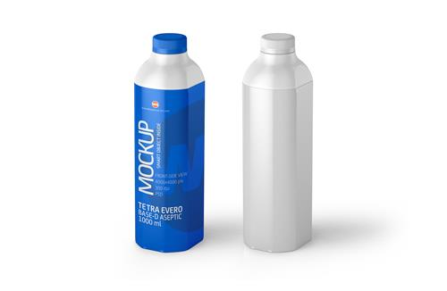 Packaging MockUp of Tetra Pak Evero Aseptic Base-D 1000ml with OrionTop-O38A Front-Side View