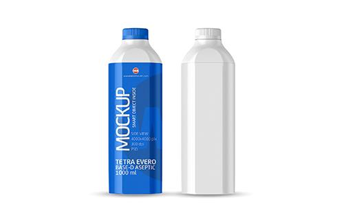 Packaging MockUp of Tetra Pak Evero Aseptic Base-D 1000ml with OrionTop-O38A Side View