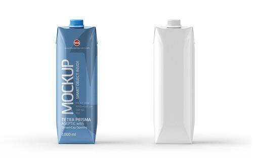 PSD Mockup of Tetra Pak Prisma 1000ml Front View