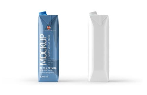 PSD Mockup of Tetra Pack Prisma 1000ml Side View