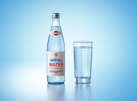 Packaging 3d model of a Mineral water glass bottle 500ml with a glass of water