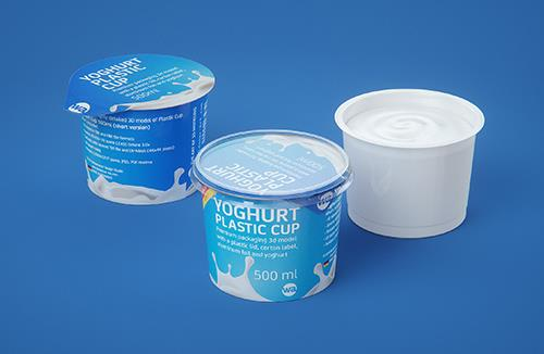 Yoghurt Plastic Cup (short version) 500ml Premium packaging 3D model