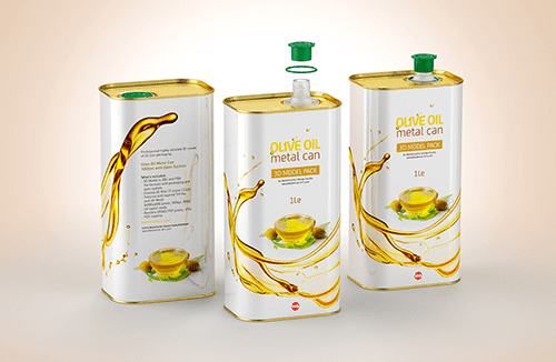 Olive oil Metal Can 1000ml Packaging 3D model