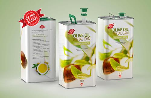 Olive Oil Tin Metal Can 3le 3D model with handle + bonus