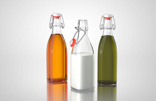 Trio - packaging 3d models of glass bottles for oil, vinegar or milk